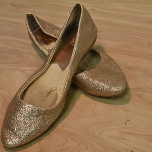 Glittering Gold Flats